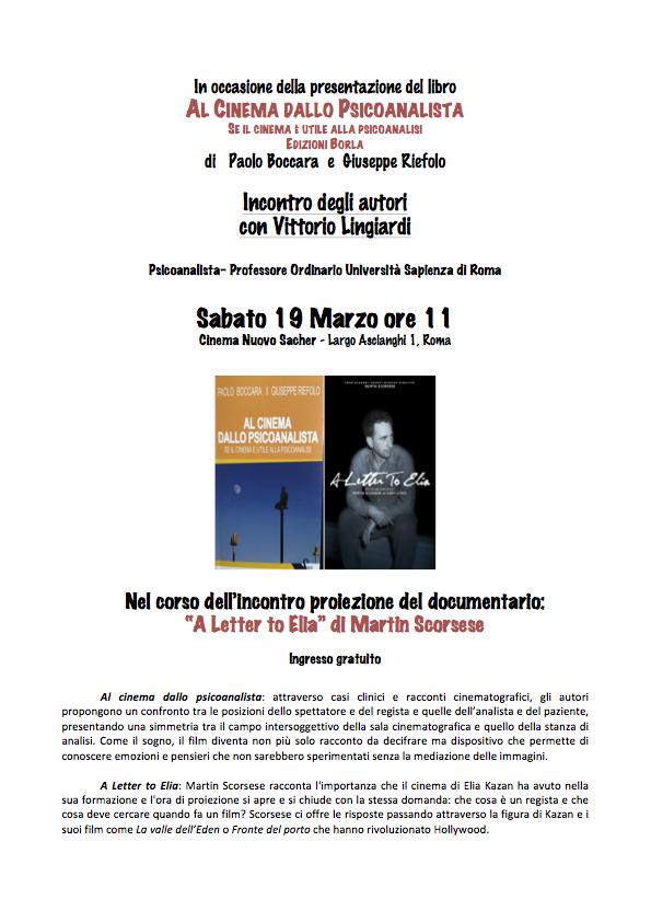 Cinema e Psicoanalisi, Presentazione libro di Paoolo Boccara e Pino Riefolo